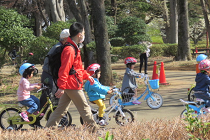 公園にいる家族
